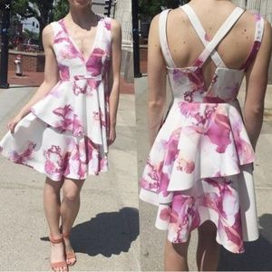 White and Pink Floral V Neck Ruffle Dress